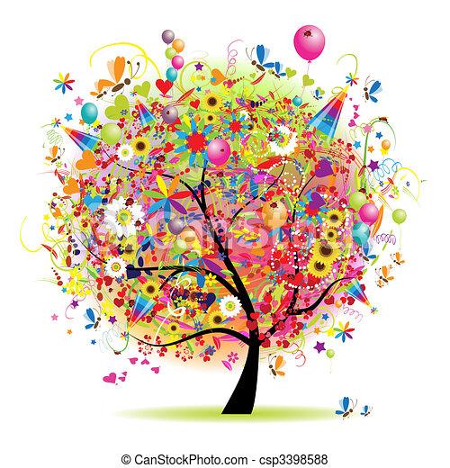albero, felice, vacanza, divertente, palloni - csp3398588