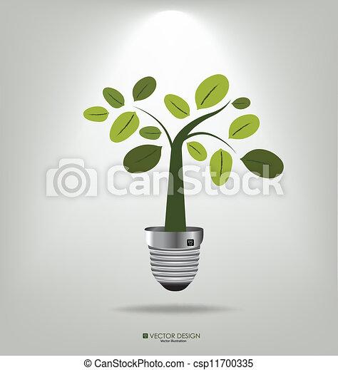 albero., illustration., eco, luce, vettore, bulbo, concept: - csp11700335