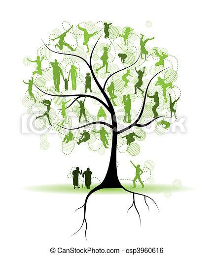 albero, silhouette, parenti, famiglia, persone - csp3960616