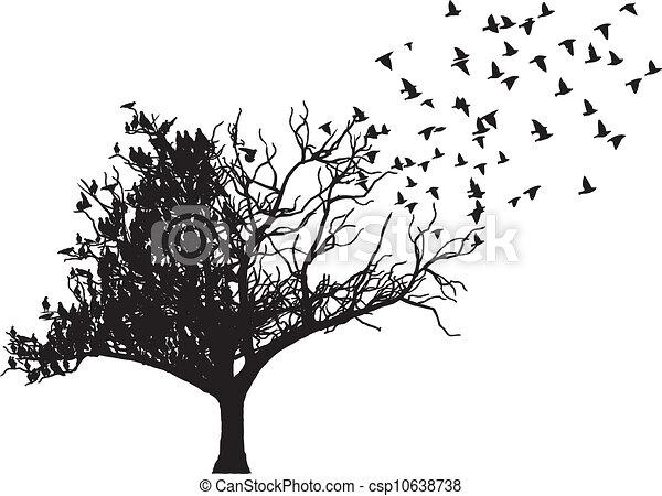 albero, vettore, arte, uccello - csp10638738