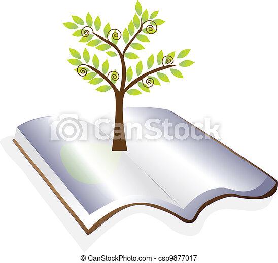 albero, vettore, libro aperto, logotipo - csp9877017