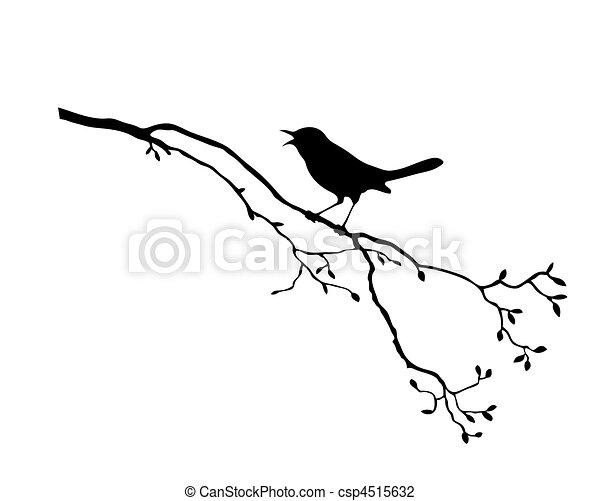 albero, vettore, silhouette, uccello, ramo - csp4515632
