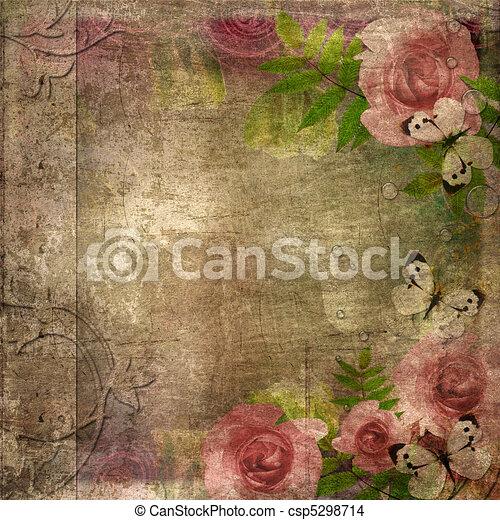album, (, coperchio, spazio, rose, set), 1, testo, vendemmia - csp5298714