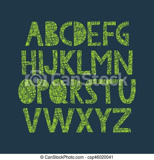 alfabeto, disegnato, organico, struttura, mano - csp46020041