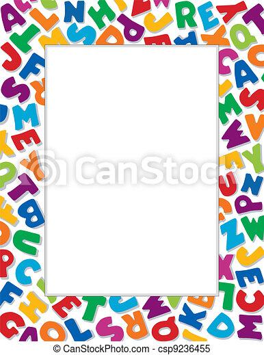 alfabeto, fondo, cornice, bianco - csp9236455