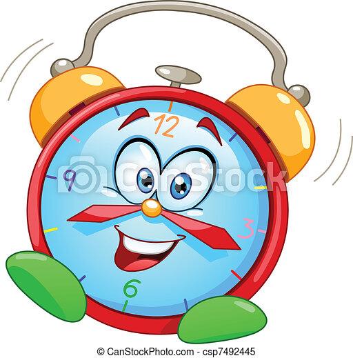 allarme, cartone animato, orologio - csp7492445