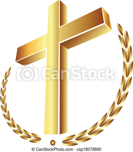 alloro, croce, oro - csp18078890