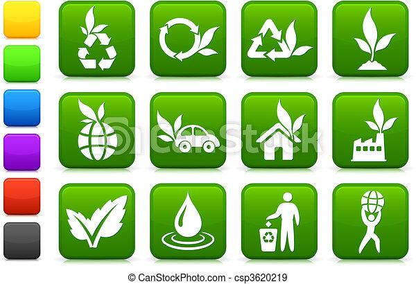 ambiente, più verde, collezione, icona - csp3620219