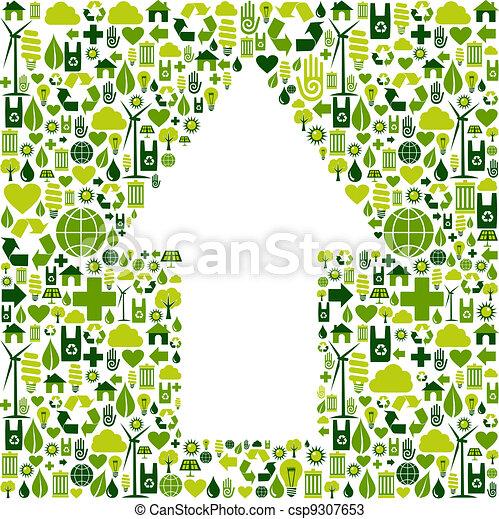 ambiente, simbolo, cura, freccia, icone - csp9307653