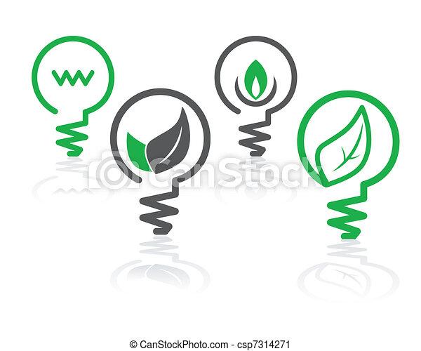 ambiente, verde leggero, bulbo, icone - csp7314271