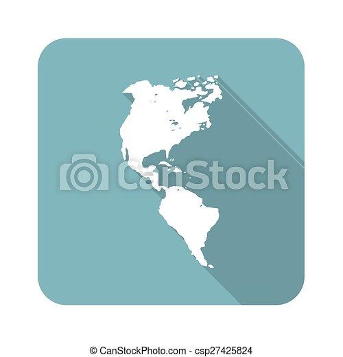 americano, continente, icona - csp27425824