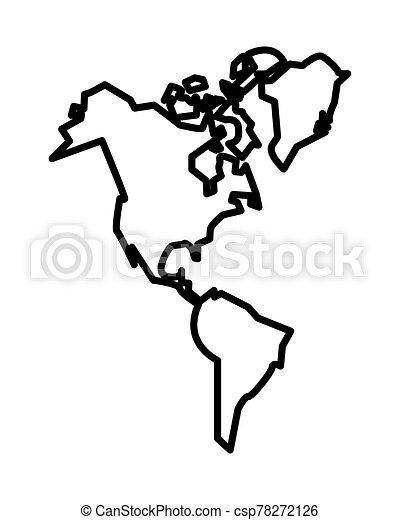 americano, nuovo, continente, isolato, icona - csp78272126