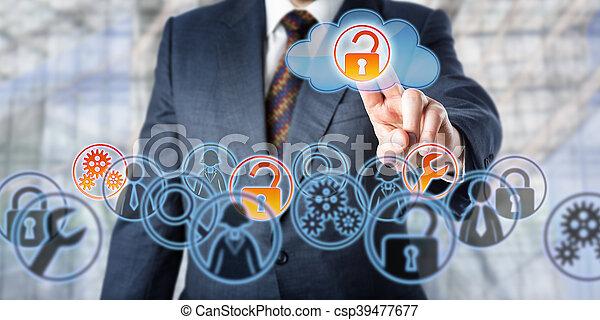amministrato, servizi, accesso, sbloccando, uomo affari - csp39477677