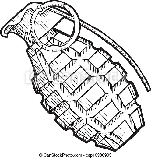 ananas, bomba a mano, schizzo - csp10380905
