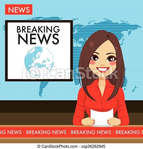 annunciatore, tv, donna, giovane - csp36262945