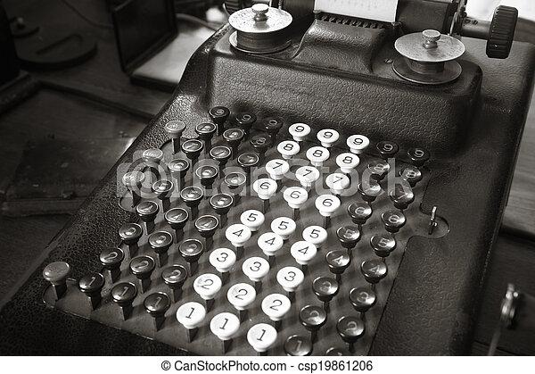 anticaglia, tono, calcolatore, sepia, originale, macchina scrivere - csp19861206