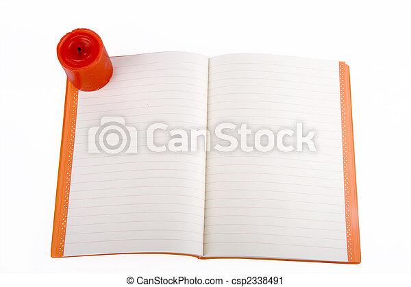 aperto, quaderno, candela - csp2338491