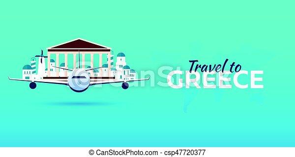 appartamento, attractions., viaggiare, banners., vettore, greece., style., aeroplano - csp47720377