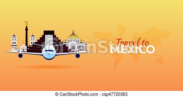 appartamento, attractions., viaggiare, banners., vettore, .mexico, aeroplano, style. - csp47720363