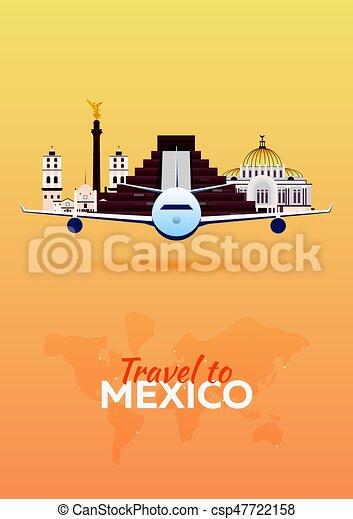 appartamento, attractions., viaggiare, banners., vettore, .mexico, aeroplano, style. - csp47722158