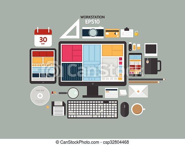 appartamento, caffè, concetto, attrezzo ufficio, moderno, illustrazione, creativo, vettore, disegno, posto lavoro, computer., digitale, oggetti, documents., workspace, workstation, congegni - csp32804468