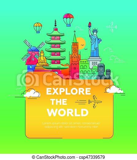 appartamento, cartolina, illustrazione, famoso, disegno, punto di riferimento, mondo - csp47339579