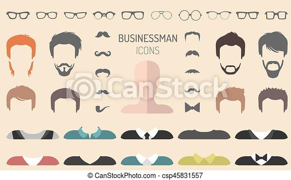appartamento, differente, set, creatore, vestire, costruttore, occhiali, su, vettore, barba, facce, uomo affari, maschio, ecc., style., icona - csp45831557