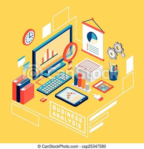 appartamento, isometrico, affari, analisi, illustrazione, 3d - csp25347580