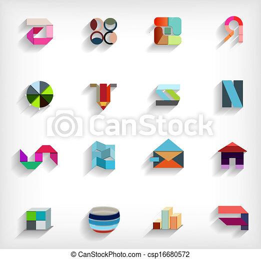 appartamento, set, affari, astratto, geometrico, icona, 3d - csp16680572