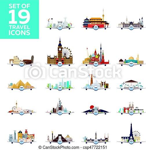 appartamento, set, attractions., grande, viaggiare, icons., vettore, aeroplano, world., style. - csp47722151