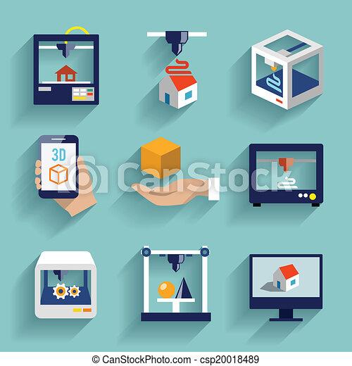 appartamento, stampante, set, 3d, icone - csp20018489