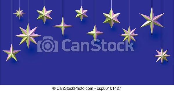 appendere, fondo., viola, verde, metallico, stelle - csp86101427