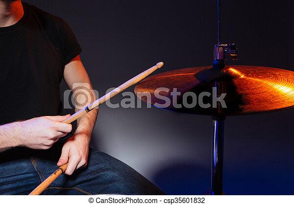 appiccicare, tamburino, tamburi eseguono, mani - csp35601832