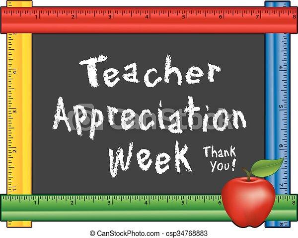 apprezzamento, settimana, mela, insegnante - csp34768883