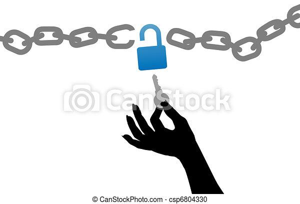 aprire, chiave, libero, serratura, catena, persona, mano - csp6804330