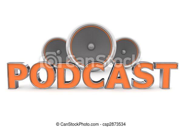 arancia, altoparlanti, podcast, - - csp2873534