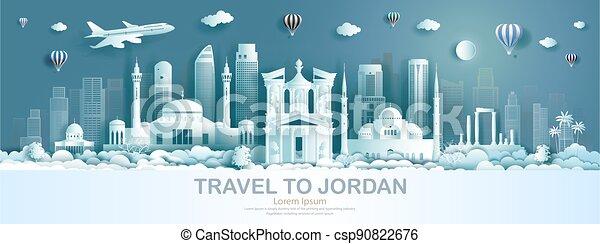 architettura, moderno, viaggiare, costruzione, giordania, punto di riferimento, monumento, ancient. - csp90822676