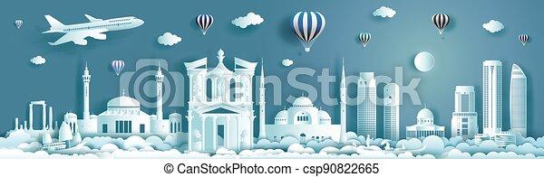 architettura, moderno, viaggiare, costruzione, giordania, punto di riferimento, monumento, ancient. - csp90822665