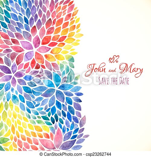 arcobaleno, dipinto, acquarello, colori, sagoma, invito - csp23262744