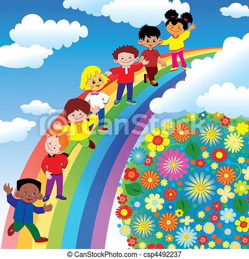 arcobaleno, slide., bambini - csp4492237