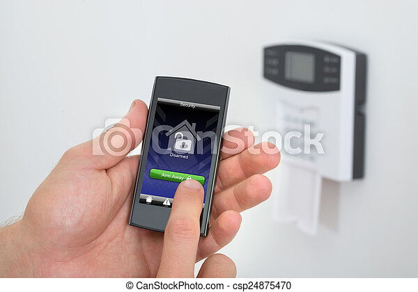 arming, tastiera, sistema allarme, persona, sicurezza - csp24875470