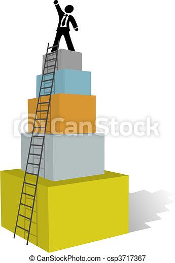 arrampicarsi, affari, scala, uomo, cima, successo - csp3717367