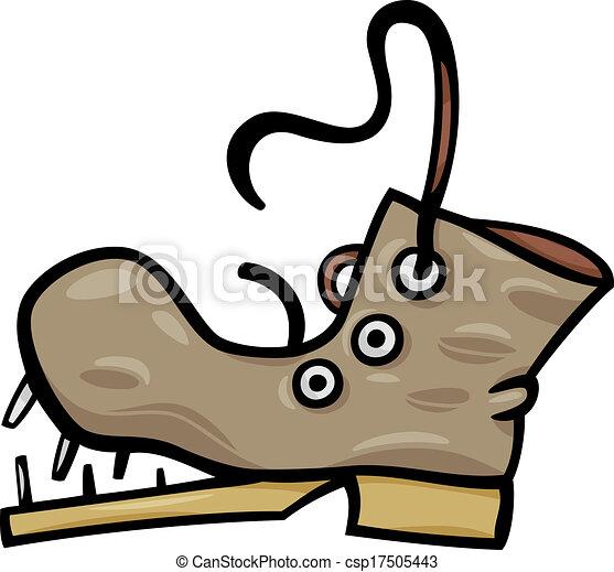arte, clip, stivale, cartone animato, scarpa, vecchio, o - csp17505443