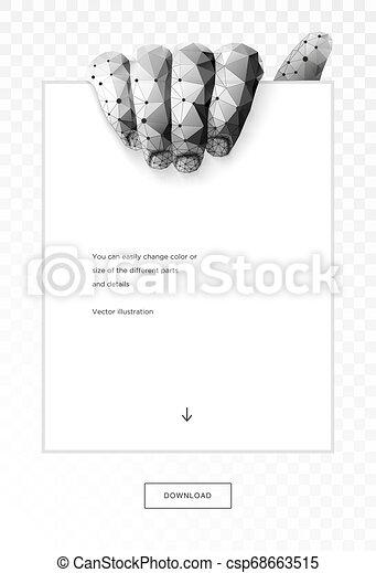 arte, immagine, poly, poligono, wireframe, polygonal, fondo., basso, presa a terra, maglia, punti, text., illustrazione, mano, scuro, lines., collegato, copia, pasta, pezzo, paper., vettore, 3d, o - csp68663515