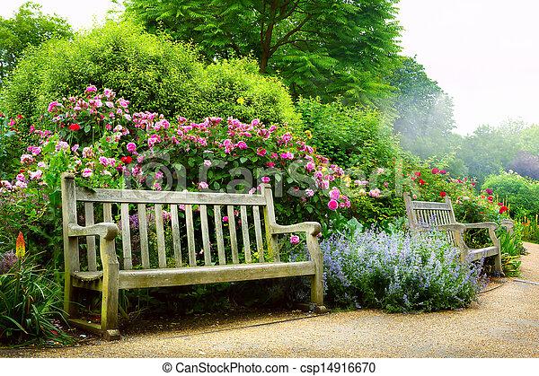 arte, parco, mattina, inglese, panca, fiori - csp14916670