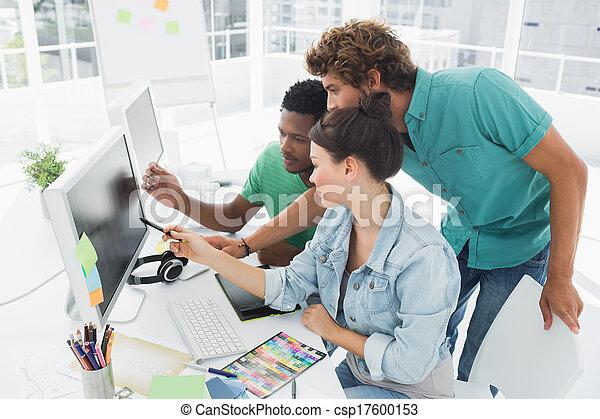 artisti, lavorativo, tre, ufficio, computer - csp17600153