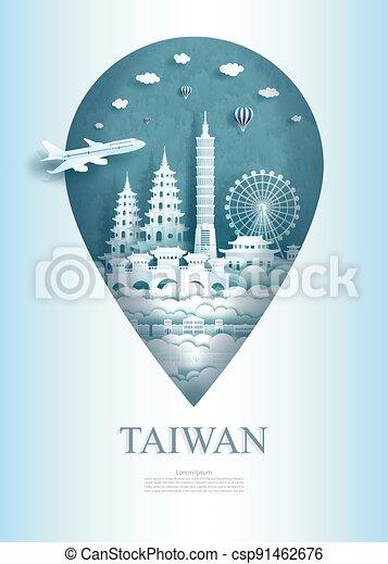 asia, architettura, perno, viaggiare, monumento, ancient., taiwan, porcellana - csp91462676