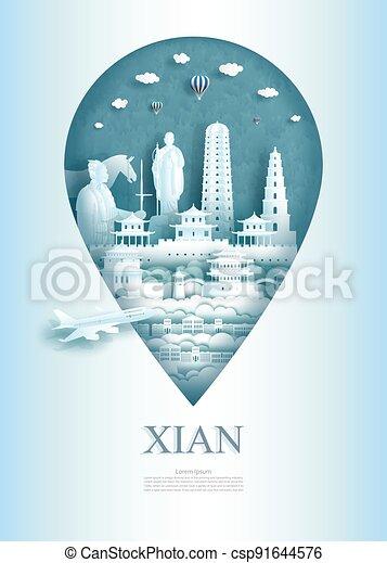 asia, architettura, perno, viaggiare, monumento, ancient., xian, porcellana - csp91644576