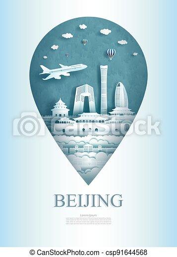 asia, architettura, perno, viaggiare, monumento, ancient., porcellana, beijing - csp91644568