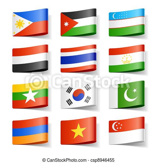 asia., flags., mondo - csp8946455